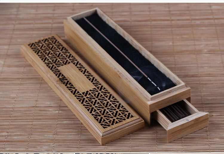 9 дюймов китайский Винтаж Классический бамбук двусторонний деревянный молоток Слои коробка со встроенным ящиком аромапалочки горелка кадило орнамент