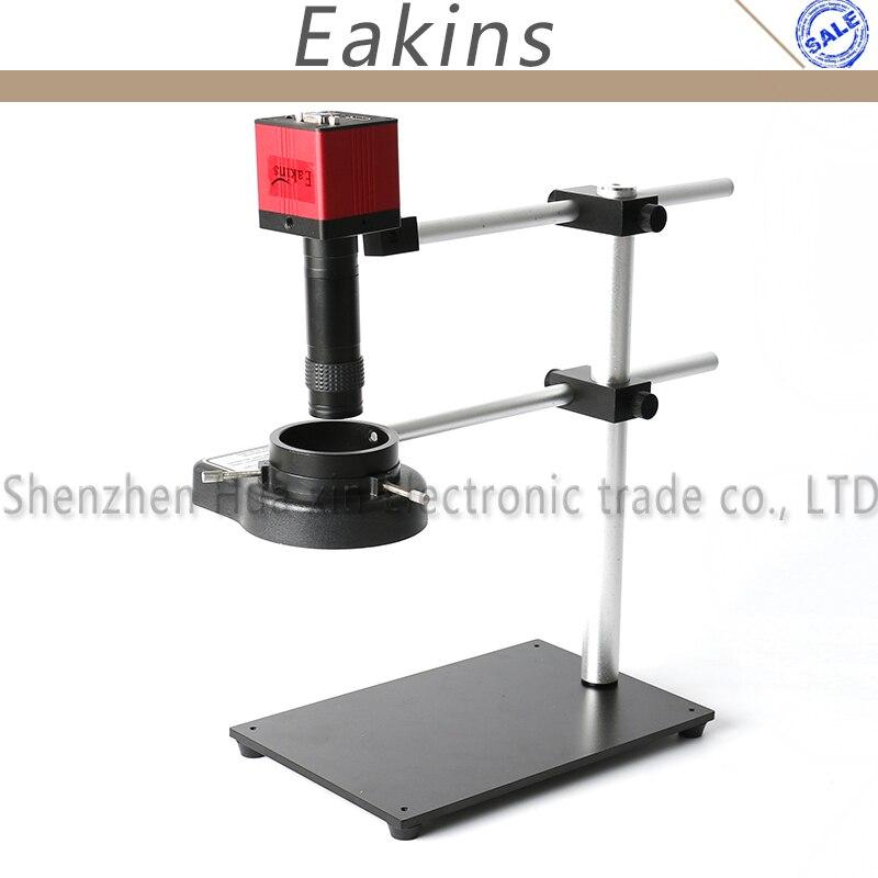 Dual Arm Rotatable Boom Table Stand+1080p HDMI VGA Microscope Camera+144 LED Light+100X C-mount Lens 18CM Working Distance цена