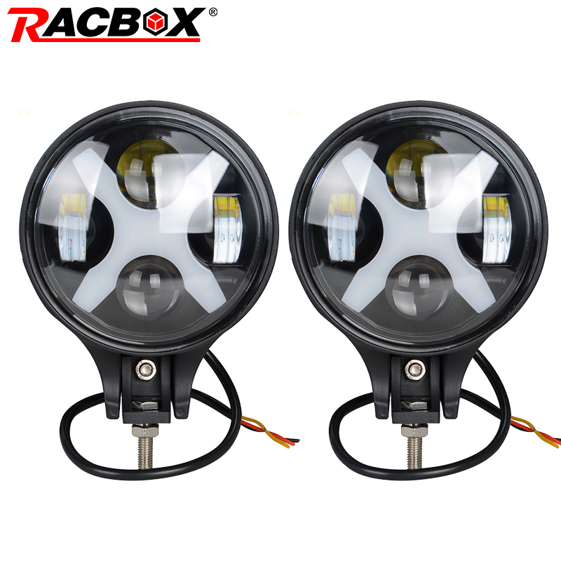 RACBOX 2 pcs 6 inch 60W LED Work Light For Off-Road Headlight 8000lm Spot light Daytime Light with White X Angle Eyes for Jeep tadpole shape outdoor bicycle 1 led 2 mode signal light white 2 pcs 2 x cr2016