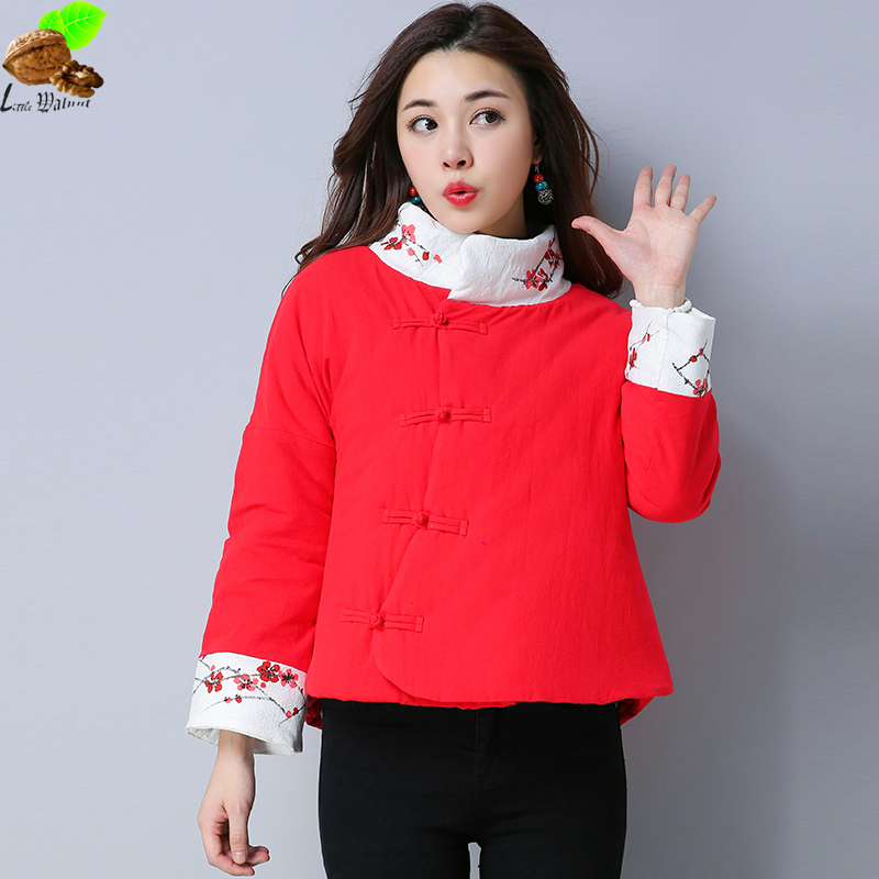 Women Winter National Wind Coats Print Floral Vintage Stand Collar Single-Breasted Short Jacket Cotton-Padded Jackets for Female