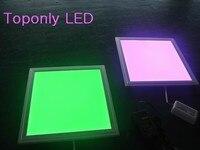18 w rgb led plana luz com controle remoto RF praça full color conduziu a lâmpada do painel 300x300mm embeded instalar AC100 240v 50 pçs/lote led flat light flat light color led panel -