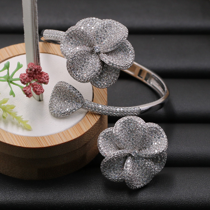 Lanyika Jewelry Set Fleshiness Flowers Bangle with Ring for Girl Banquet Wedding Micro Inlay Popular Luxury Best Gifts-in Jewelry Sets from Jewelry & Accessories    3