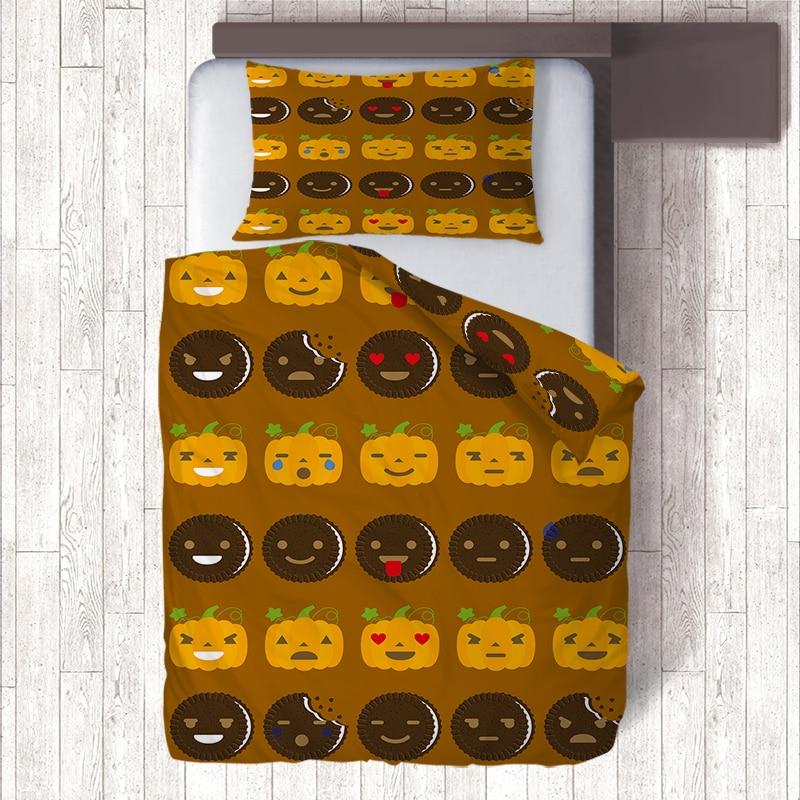Chocolate Milk Cookies Pumpkin Emoji Bedding Sets Kids Duvet Covers Single Quilt Cover Pillowcase,Home Decor Child Birthday GiftChocolate Milk Cookies Pumpkin Emoji Bedding Sets Kids Duvet Covers Single Quilt Cover Pillowcase,Home Decor Child Birthday Gift