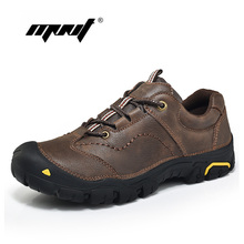 Купить с кэшбэком Fashion Natural Leather Shoe Men Comfortable Outdoor Casual Shoes Lace-Up Spring/ Autumn Beathable Men Shoes Sneakers