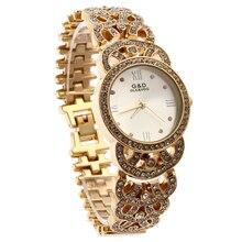 Relogio Feminino G&D Gold Women Quartz Wristwatch Analog Stainless Steel Fashion Lady's Luxury Dress Bracelet Watch Reloj Mujer