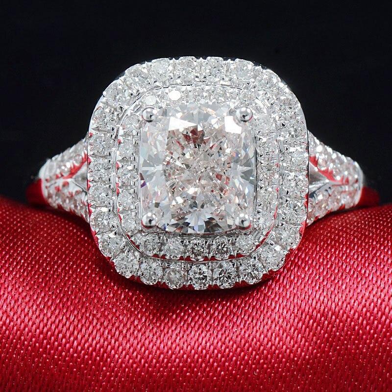Solide 18K or blanc fiançailles ensemble nuptial 2ctw coussin coupe Halo Moissanite anneau ensemble pour les femmes
