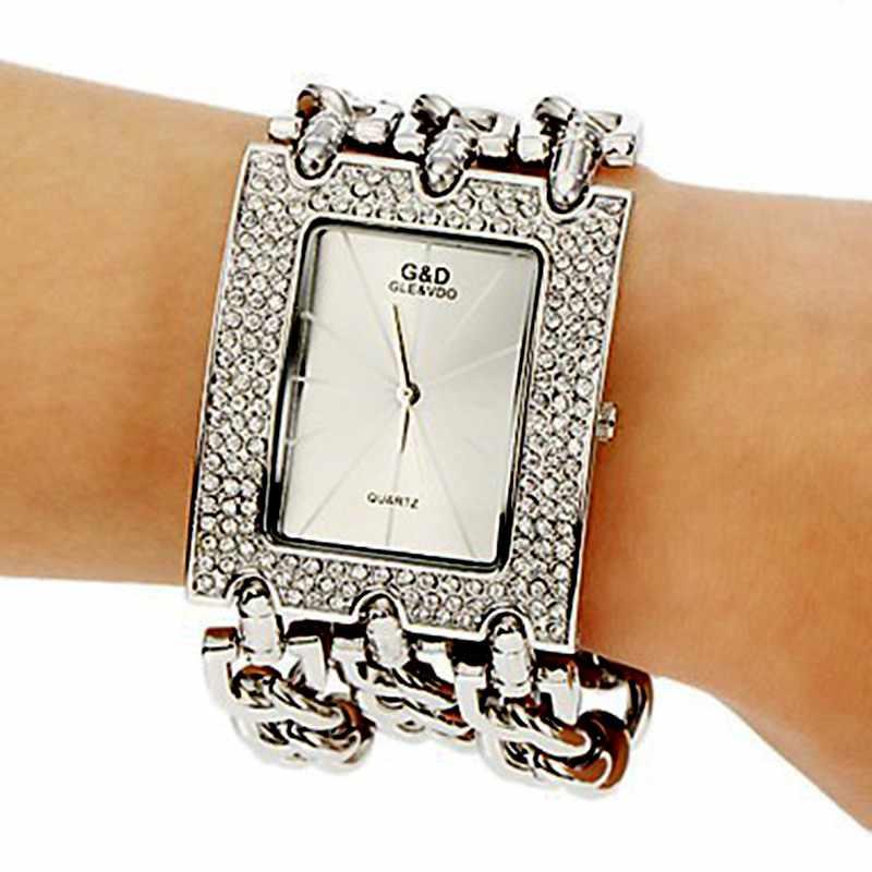 2016 נשים של אופנה שעון הנמכר ביותר קוורץ שעוני יד אנלוגי קריסטל מלבן חיוג ריינסטון שעונים גבירותיי מקרית