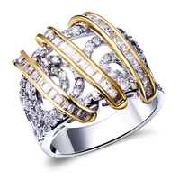 New Arrival Two tone Color rings for women Setting with cubic zirconia Lead Free Women Cute rings Free Allergy