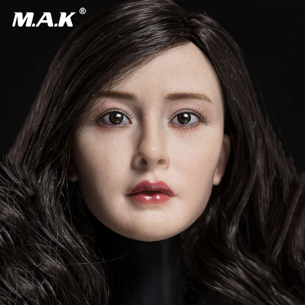 Asian Actress 1//6 Scale Female Long Curls Head Sculpt Carving Model