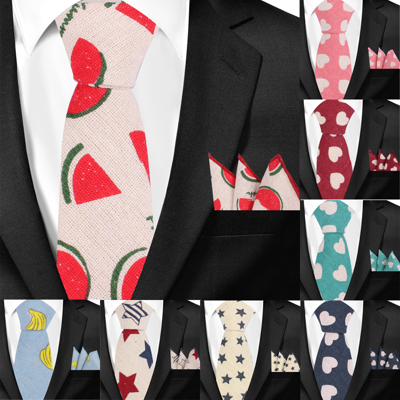 Men Tie and Handkerchiefs Sets Cotton Linen Neckties and Hanky Set For Men Casual Print Ties For Wedding Party Groom Neck Ties