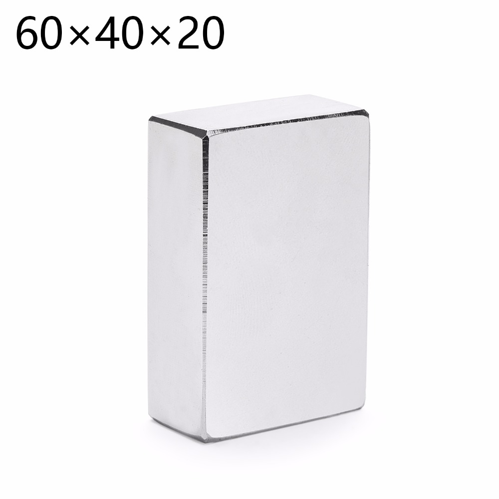 1pc 60*40*20 super strong neodymium rectangle block magnets 60mm x 40mm x 20mm n35 rare earth ndfeb cuboid magnet 60x40x20