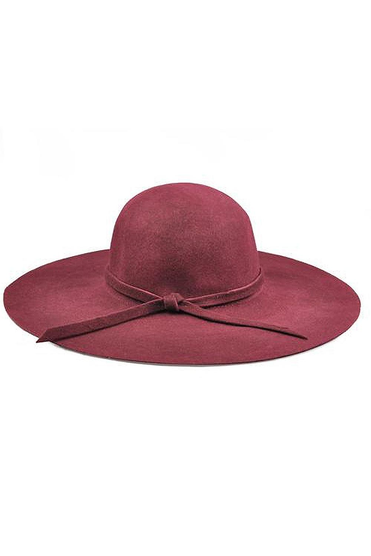 SAF-Wine Red Soft Ladies Floppy Wide Brim Cloche Hat Retro Wool Bowknot