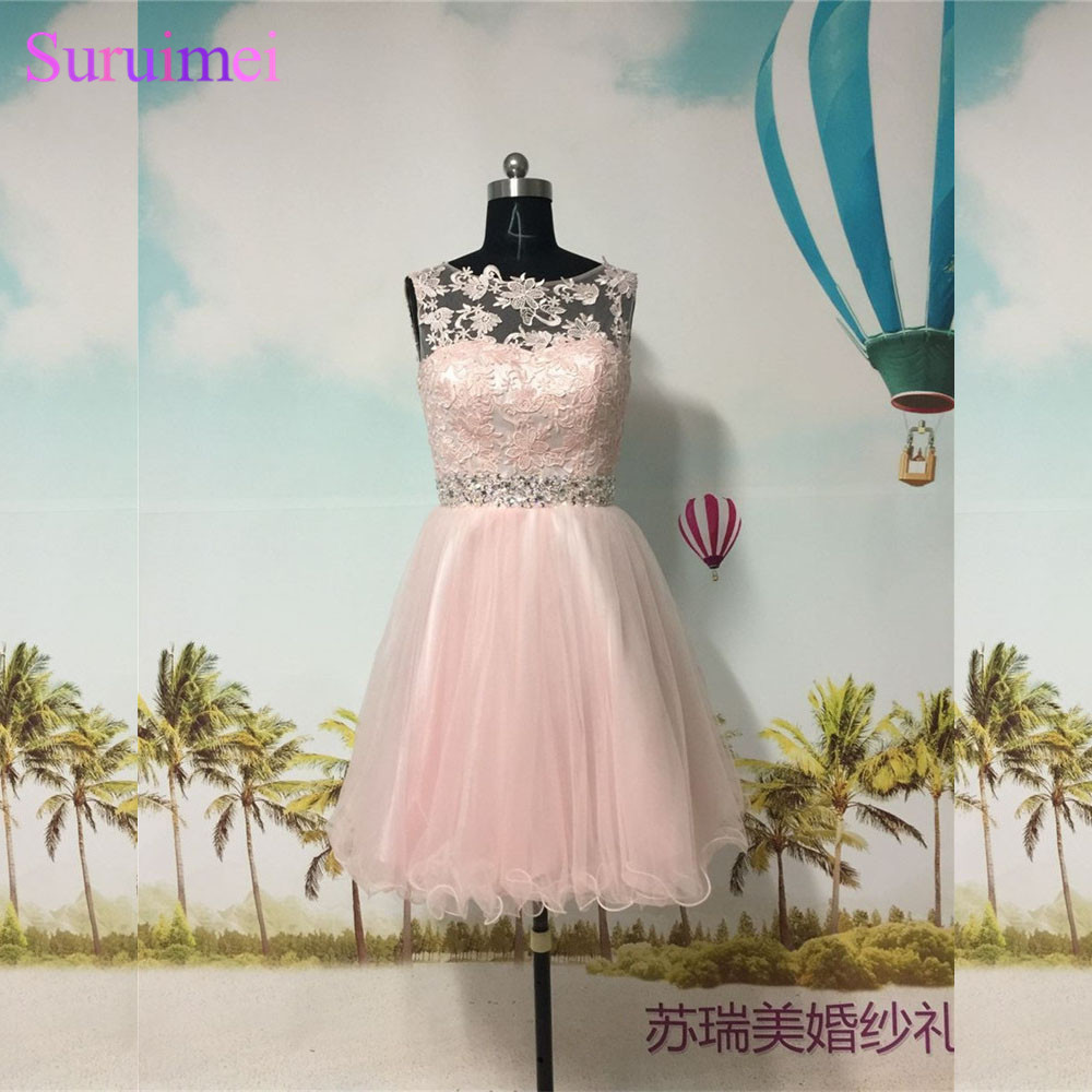 Pearl Pink Short   Prom     Dresses   High Neck Tulle Applique Beaded Sash Key Hole Back Blush Pink   Prom   Gown