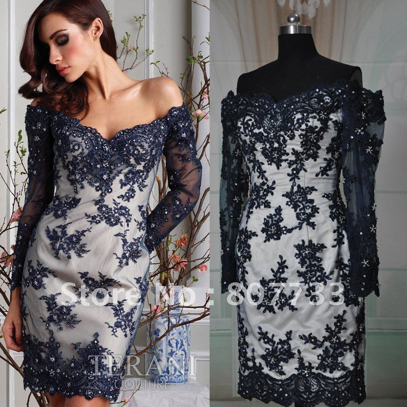 d43b05b1a224 Real sample short length off shoulder beaded lace elegant long sleeve  evening dresses