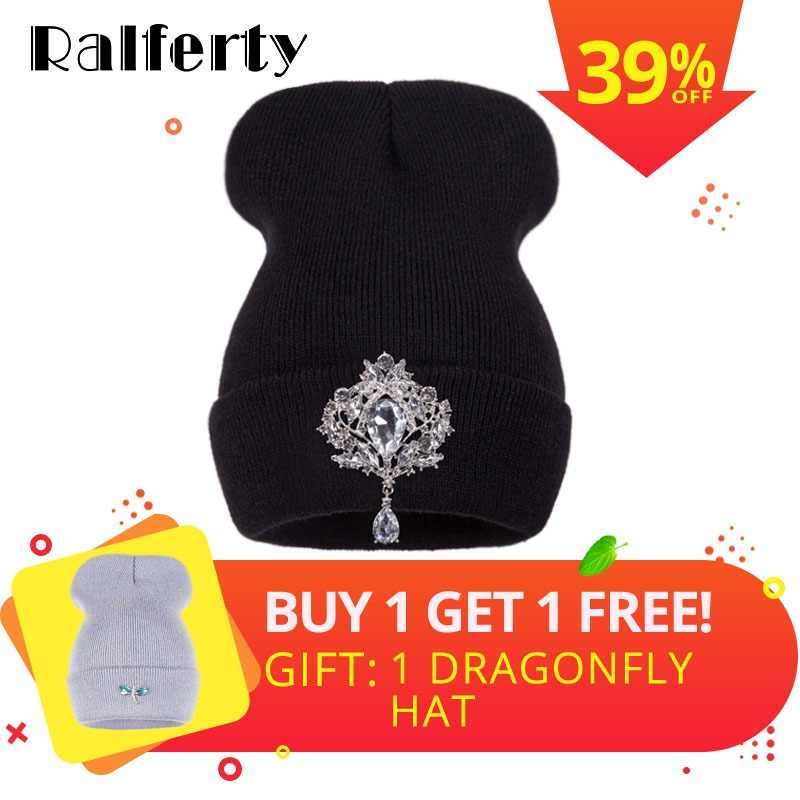 826504b61e31d Ralferty Winter Women s Hats Luxury Crystal Accessories Headgear Beanie Hat  Women Cap bonnet femme gorro (