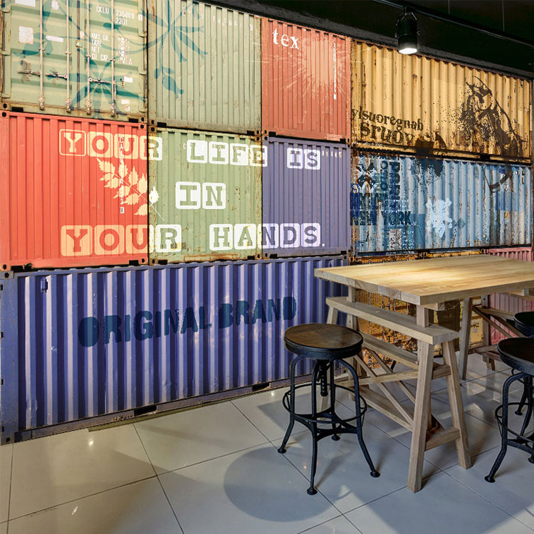 Photo wallpaper tin container mural warehouse studio bar clothing store study office background warm color wood wallpaper mural