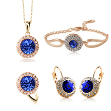 Copper Rhinestone Crystal Romantic Moon Crystal Weddings Jewelry Sets Wholesales Fashion Jewelry for women 1075