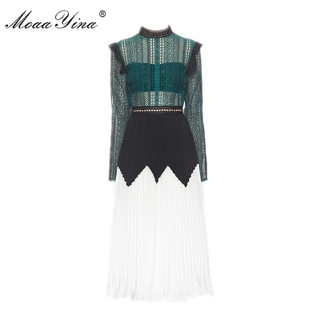 MoaaYina Fashion Designer Runway Midi Dress Summer Women Long sleeve Stand collar Lace Hollow Out Patchwork Pleated Casual Dress