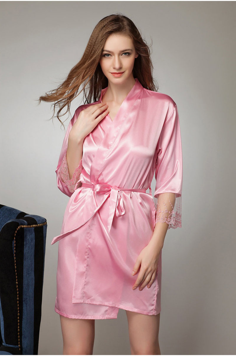 Woman Nightwear Nightwear Women Sexy Satin Robes Robe Sexy Women Nighty Sexy  Long Robe For Pink Silk Silk Gown-in Robes from Underwear   Sleepwears on  ... 0a98b09401