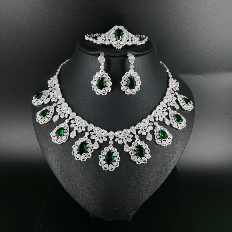 2019 nouvelle mode noir vert bleu CZ zircon collier boucle d'oreille bracelet anneau de mariage de mariée banquet dîner ensemble de bijoux dressing