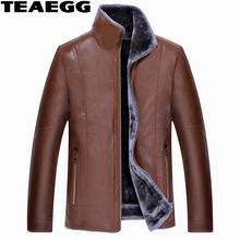 TEAEGG Black Warm Mens Leather Jacket Parka Homme Faux Male Leather Jackets Clothing Plus Size 5XL Jaqueta Masculina Couro AL541