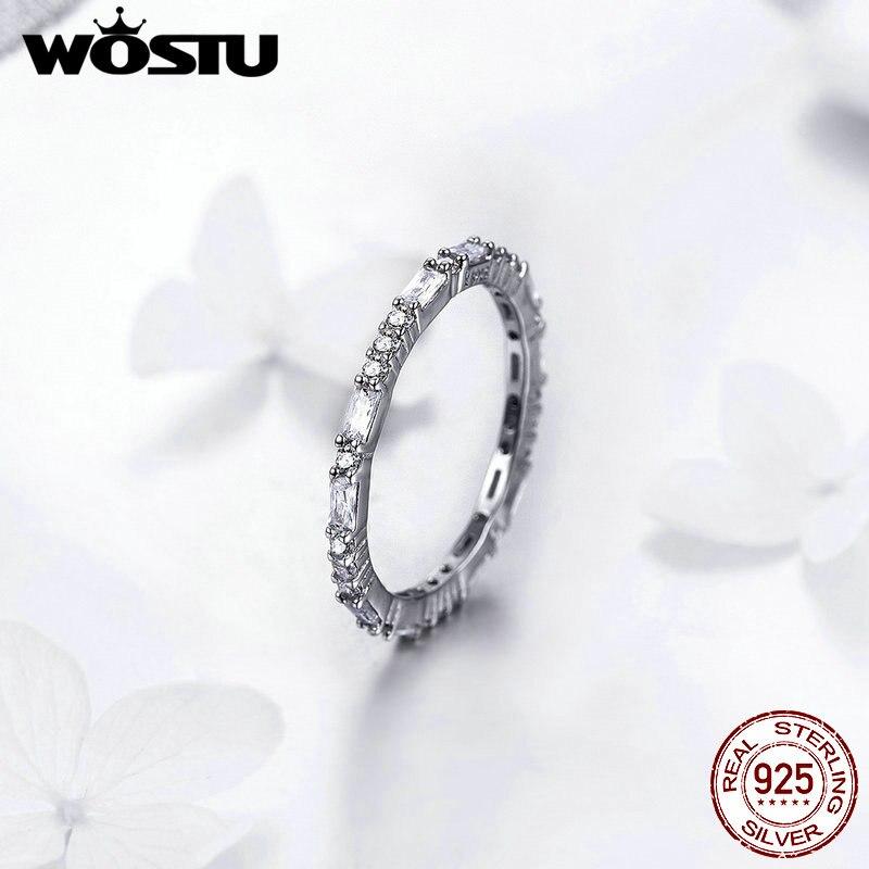 WOSTU Dazzling Minimalist Rings 925 Sterling Silver Brilliant Zircon Love Ring Finger For Women Wedding Elegance Jewelry FIR504