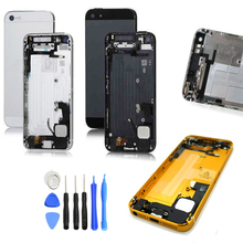Replacement Full Housing Assembly For iPhone 5 5G Back Cover Middle Frame Metal Small Parts + Flex Cable+ Buttons, Free Shipping