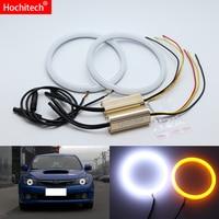 for Subaru Impreza WRX STI 2007 2011 White & Amber Dual color Cotton LED Angel eyes kit halo ring DRL Turn signal light