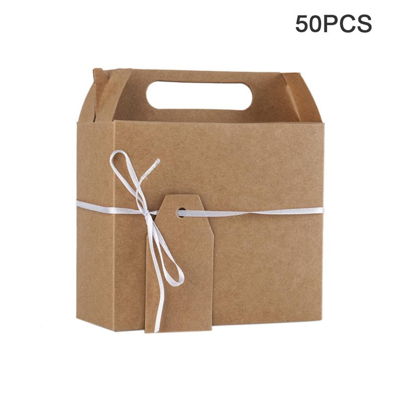 50 Pieces Of Kraft Paper Large Gift Box Gift Wedding Candy Chocolate Box With Hand Gift Rectangular Box (OPP)