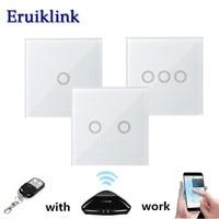 EU UK Standard Wireless Remote Control Light Switches 1 2 3 Gang 1 Way White Glass