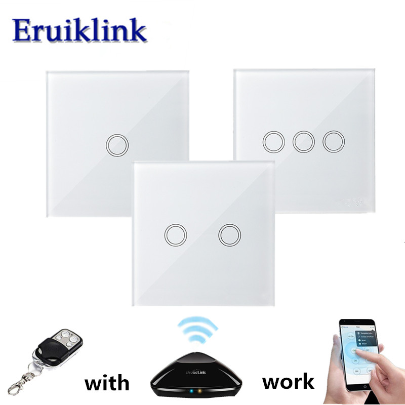EU/UK Standard Wireless Remote Control Light Switches, 1/2/3 Gang 1 Way White Glass Panel Wall Touch Switch for RF433 Smart Home us standard 1gang 1way remote control light touch switch with tempered glass panel 110 240v for smart home hospital switches