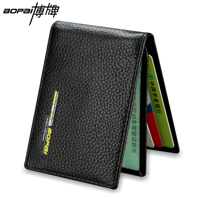 Free shipping real leather credit card holder genuine leather business card wallet black color ID card holder case porte carte