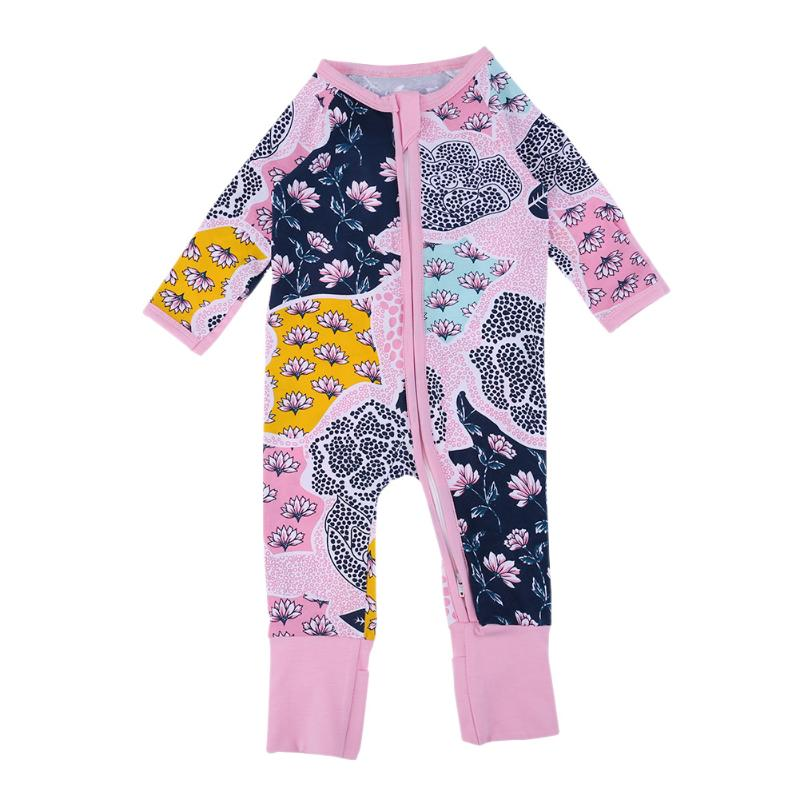 Fashion Baby Rompers Flower Boys Girls Full Sleeve Newborn Overall Cotton Blend Jumpsuit Floral Printed Outfits