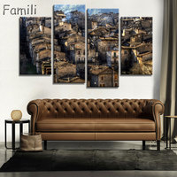 4Panel Living Room Bedroom Home Wall Decoration Fabric Poster Cefalu Italy Sicily Sea Landscape Mountain Rock