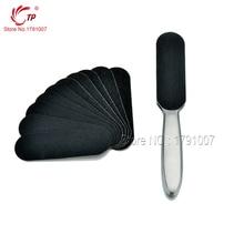 Pedicure Manicure Tool Feet Care Stainless Metal Handle + 10pcs Black Sanding Cloth High Level Foot Rasp Alicate de Cuticula