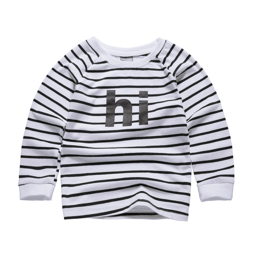 Baby Boy Sweatshirt Letter Hi Printed 2017 Brand Children Autumn Long Sleeve Tops Boys Clothes Striped Kids T Shirts for Girls