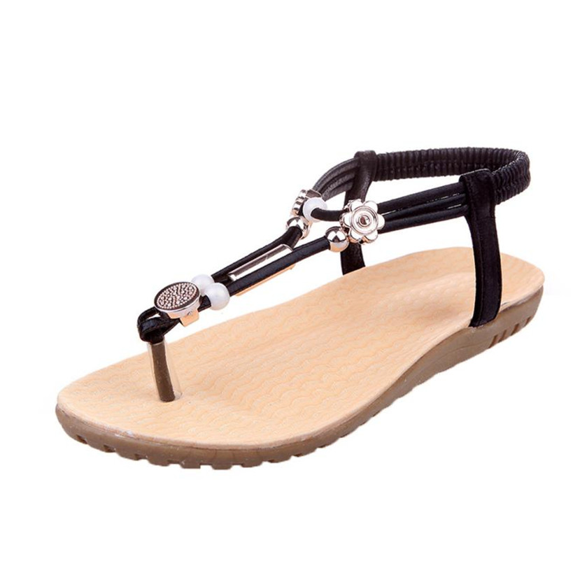 2017 Fashion Women Sandals Bohemia Ankle-Strap Flops Summer Flat Shoes Woman Shoes zapatos mujer #40 new fashion women sandals hot sale 2017 bohemia ankle strap flops summer flat shoes high quality woman gladiator comfort shoes