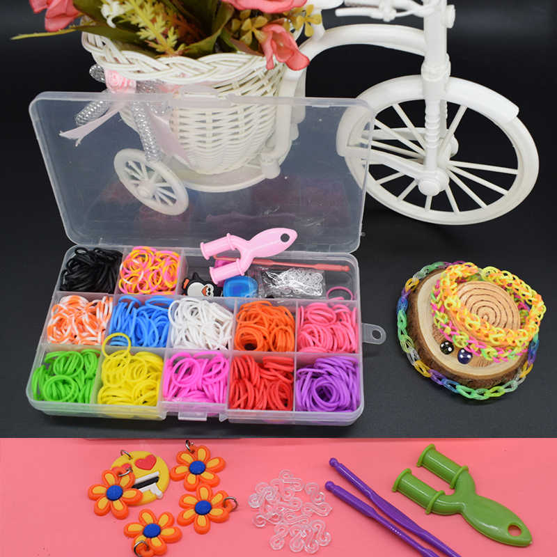 600pcs rubber loom bands girl gift for children elastic band for weaving lacing bracelet toy gum for bracelets diy material set