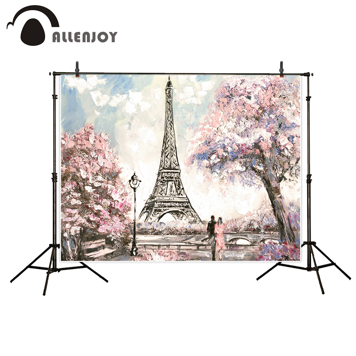 Allenjoy Eiffel tower backdrop artistic photography aesthetic flower oil painting printed background  photocall for studio shoot