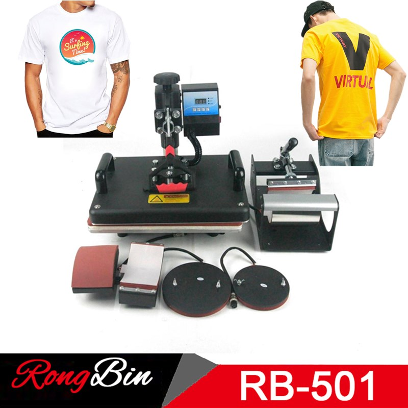 "5 i 1 Combo Swing Heat Press Machine Sublimation Heat Presse 12 ""x 15"" Heat Transfer Machine Printer For Mug Cap T Shirt Telefon"