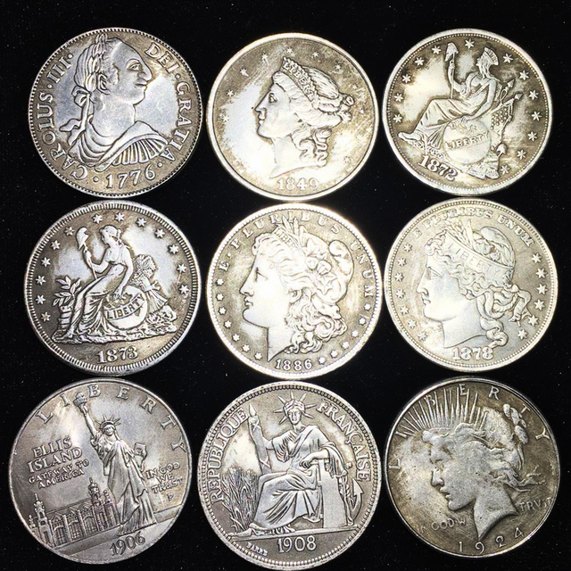 Monedas de plata de la moneda de la libertad de la Reina de los Estados Unidos, monedas de colección de cobre antiguo de 1 dólar, regalo de Navidad