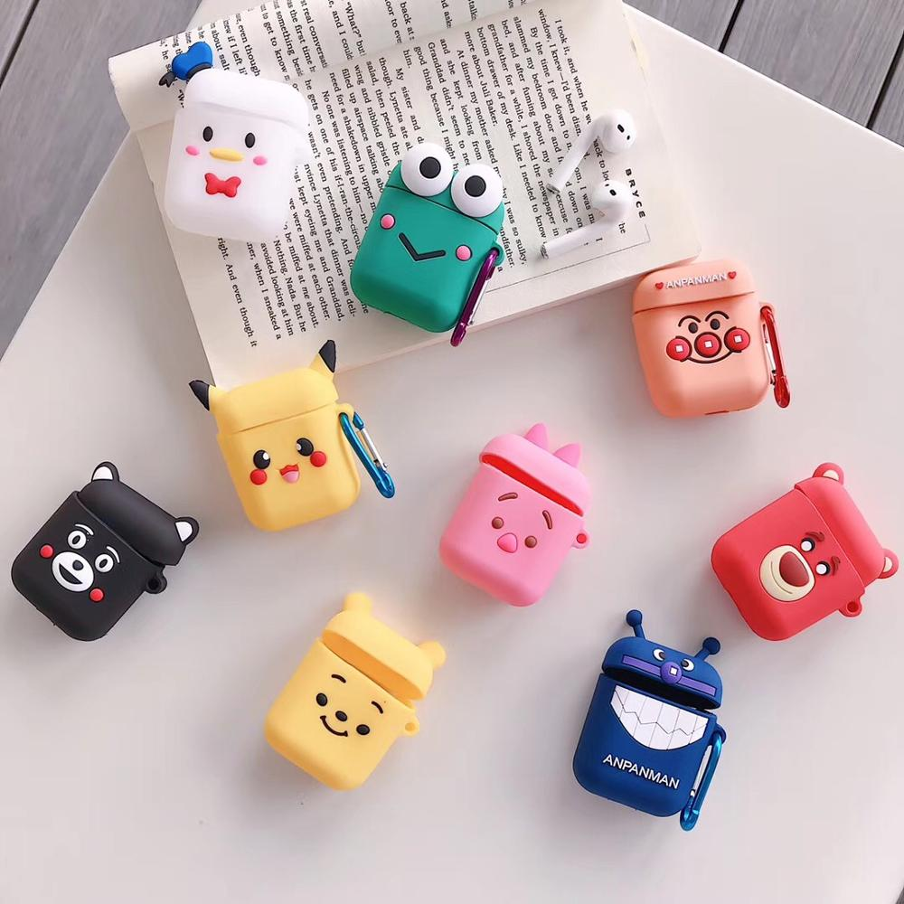 For AirPods Case Bluetooth Wireless Earphone Case For Apple Airpods 2 Charging Box Cartoon Protect Cover With Finger Ring Strap
