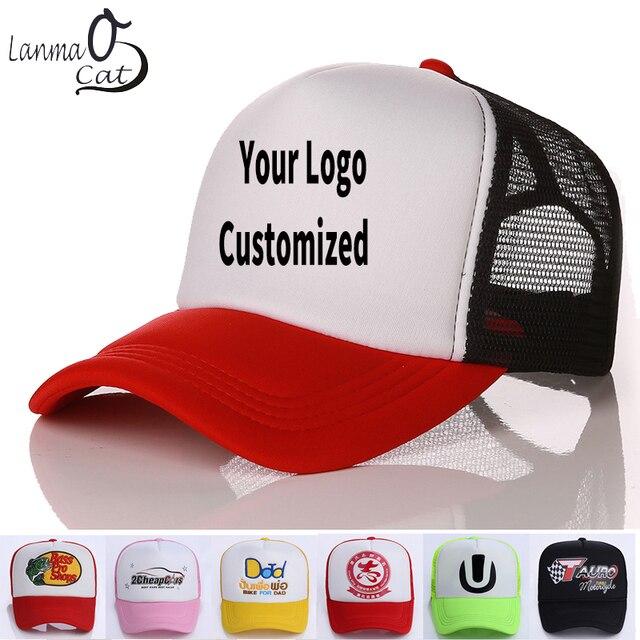 34f64b91d211a Lanmaocat Kids Mesh Hats Custom Logo Kids Baseball Blank Caps Custom Logo  Cap Personal Logo Printed Children Cap Free Shipping