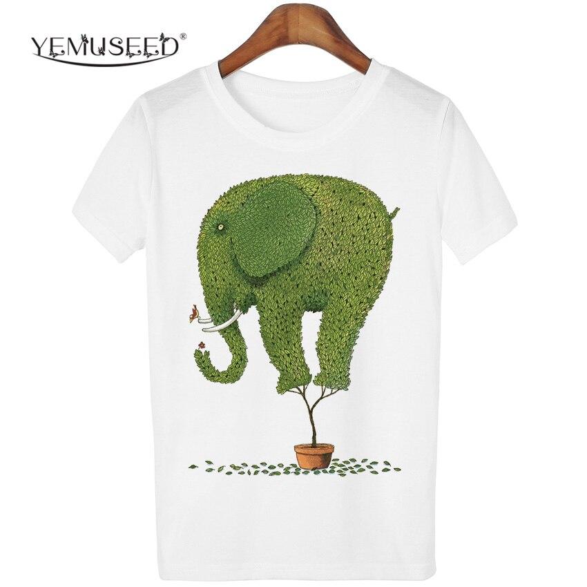 Multi Colors Funny Printed Blusa Tops T Shirt Women White Short Sleeve Tees Cartoon Elephant Tree T-shirt For Girl