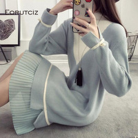 EORUTCIZ Winter Turtleneck Sweater Dress Women Knitted Tunic Basic Dress Spring Sexy Warm Long Sleeve Dress LM156