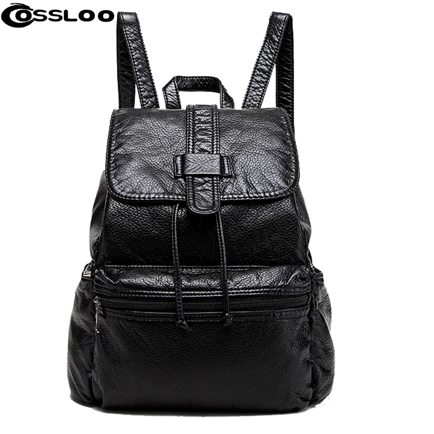 COSSLOO New Travel Backpack Korean Women Backpack Leisure Student Schoolbag Soft PU Leather Women Bag black leather backpack new travel backpack feminine korean women fashion backpack leisure student schoolbag black soft pu leather women bag 14ba31 9 2