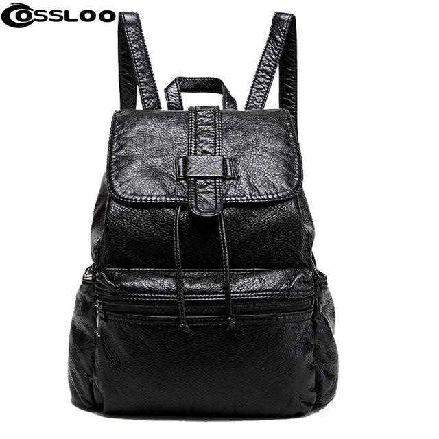 48b35ae48768 COSSLOO New Travel Backpack Korean Women Backpack Leisure Student Schoolbag  Soft PU Leather Women Bag black