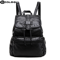New Travel Backpack Korean Women Backpack Leisure Student Schoolbag Soft PU Leather Women Bag Black Leather