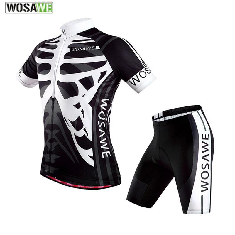 WOSAWE Black White Skull Cycling Gel Padded Short Jersey Set for Men Brand Design Bike Bicycle Sports Clothing Suit paladinsport men s skull patterned short sleeved dacron cycling jersey white red xl page 7