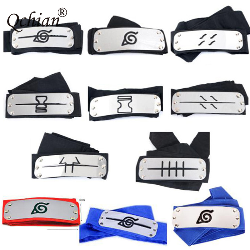 Cafiona Naruto Cosplay Accessories Naruto Ninja Headbands Black Blue Red 3 PCS